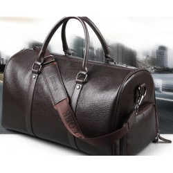 Leather weekender bag with shoe compartement