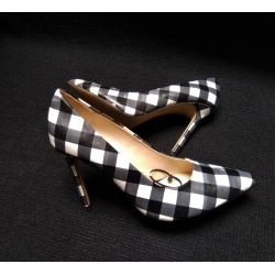 Black and white checked heels