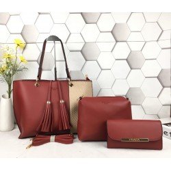 3 in 1 dual color leather handbags