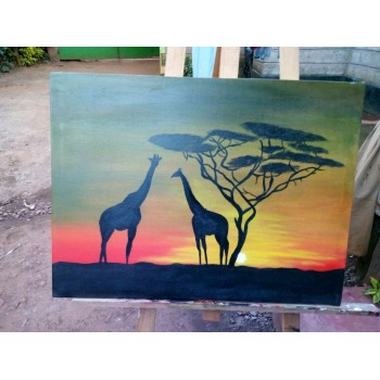 Giraffe Canvas Wall Art African Paintings