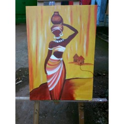 African Woman Art Wall Painting