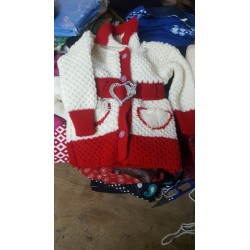 White and red small knitted kids sweater