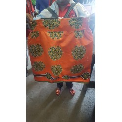 Large Orange Kitenge skater skirt