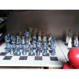 Hand Carved Soapstone Animal Chess Set-14 inches